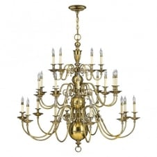 CAMBRIDGE classic traditional 25lt chandelier in burnished brass