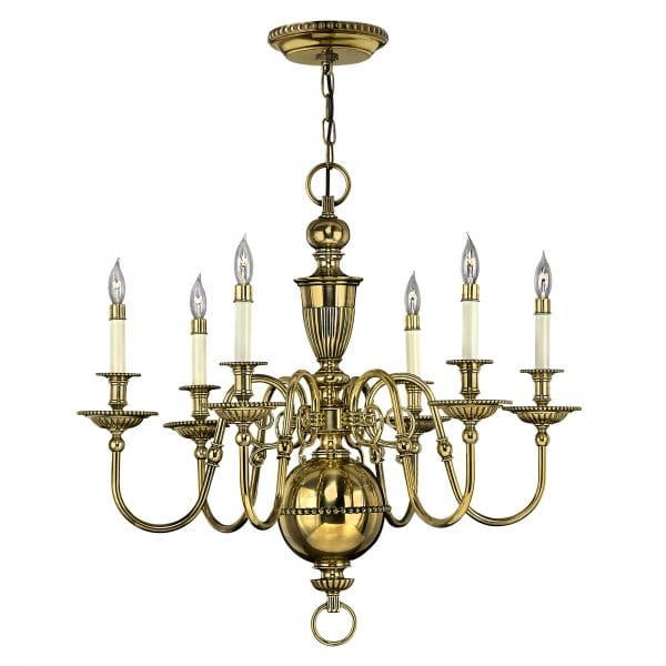 Classic Traditional 6 Light Candle Chandelier In Burnished Brass