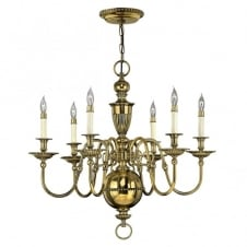 CAMBRIDGE classic traditional 6lt chandelier in burnished brass