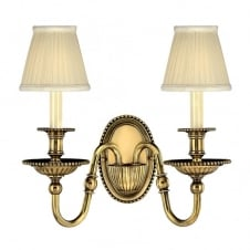 traditional classic candle double wall light in burnished brass