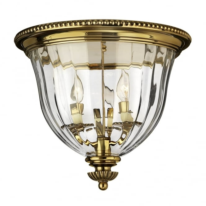 Hinkley Lighting CAMBRIDGE classic traditional flush mount ceiling light in burnished brass (deep)