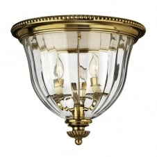 CAMBRIDGE classic traditional flush mount ceiling light in burnished brass (deep)