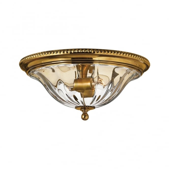 Hinkley Lighting CAMBRIDGE classic traditional flush mount ceiling light in burnished brass (shallow)