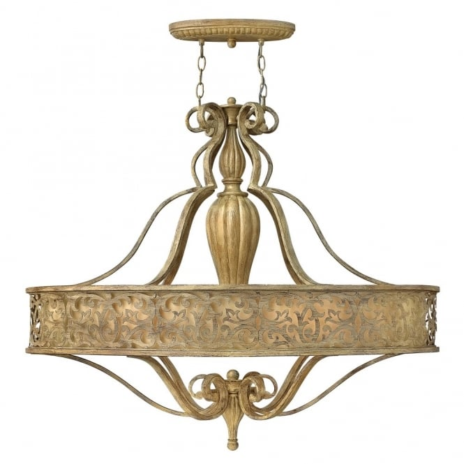 Hinkley Lighting CARABEL filigree brushed gold 6lt oval chandelier with inner ivory shade