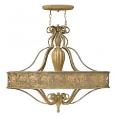 CARABEL filigree brushed gold 6lt oval chandelier with inner ivory shade