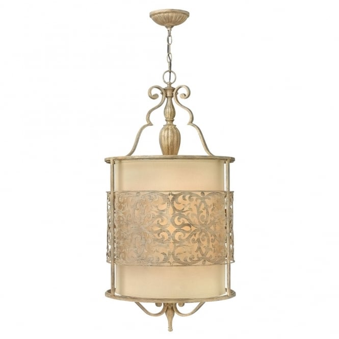Hinkley Lighting CARABEL filigree brushed gold large ceiling pendant with inner ivory shade