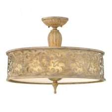 CARABEL filigree brushed gold large semi flush ceiling light with inner ivory shade