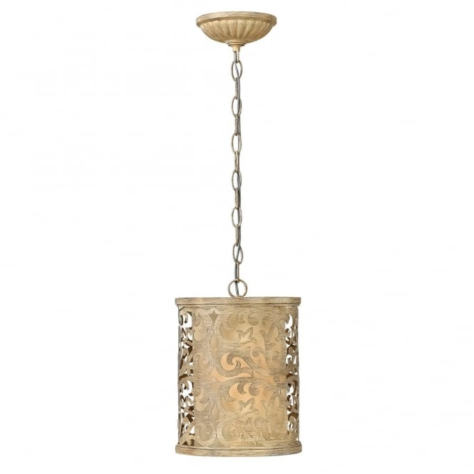 Hinkley Lighting CARABEL filigree brushed gold mini ceiling pendant with inner ivory shade