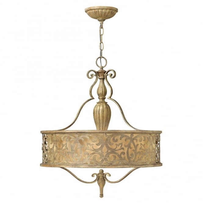 Hinkley Lighting CARABEL filigree brushed gold pendant chandelier with inner ivory shade