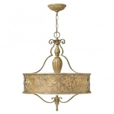 CARABEL filigree brushed gold pendant chandelier with inner ivory shade