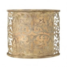 decorative filigree brushed gold wall light with inner shade