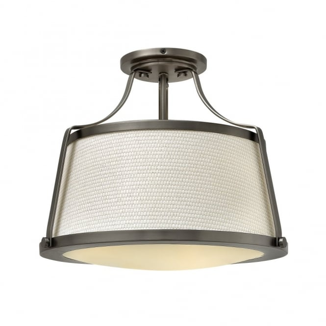 CHARLOTTE contemporary antique nickel ceiling light with textured fabric shade & opal diffuser