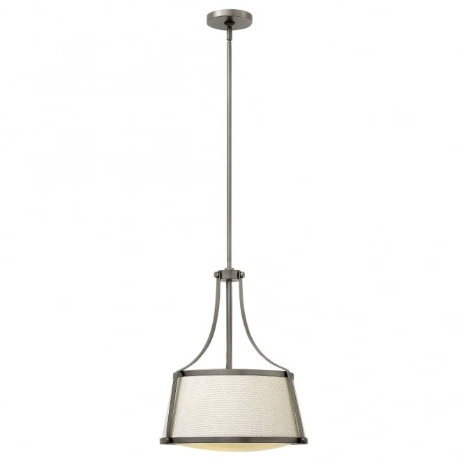Hinkley Lighting CHARLOTTE contemporary antique nickel ceiling pendant with textured fabric shade & opal diffuser