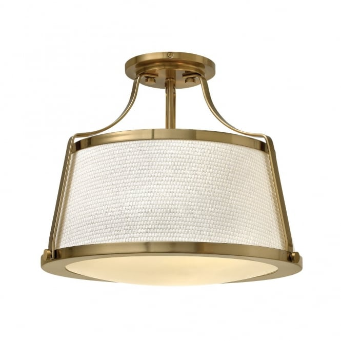CHARLOTTE contemporary brass ceiling light with textured fabric shade & opal diffuser