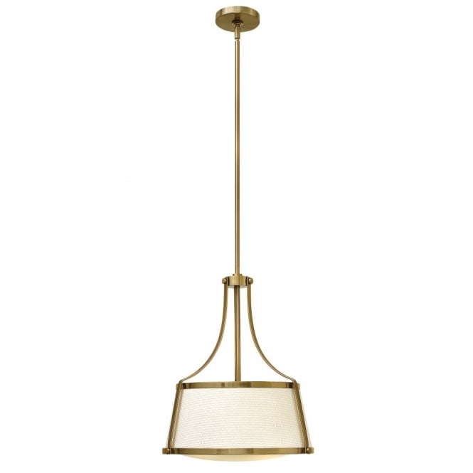 Hinkley Lighting CHARLOTTE contemporary brass ceiling pendant with textured fabric shade & opal diffuser