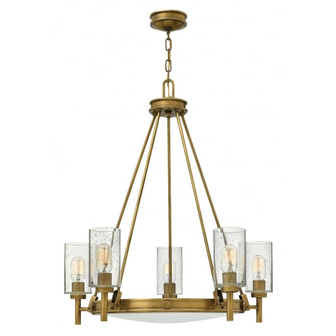 Hinkley Lighting COLLIER 5 light chandelier in heritage brass with clear glass shades