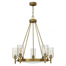 5 light chandelier in heritage brass with clear glass shades