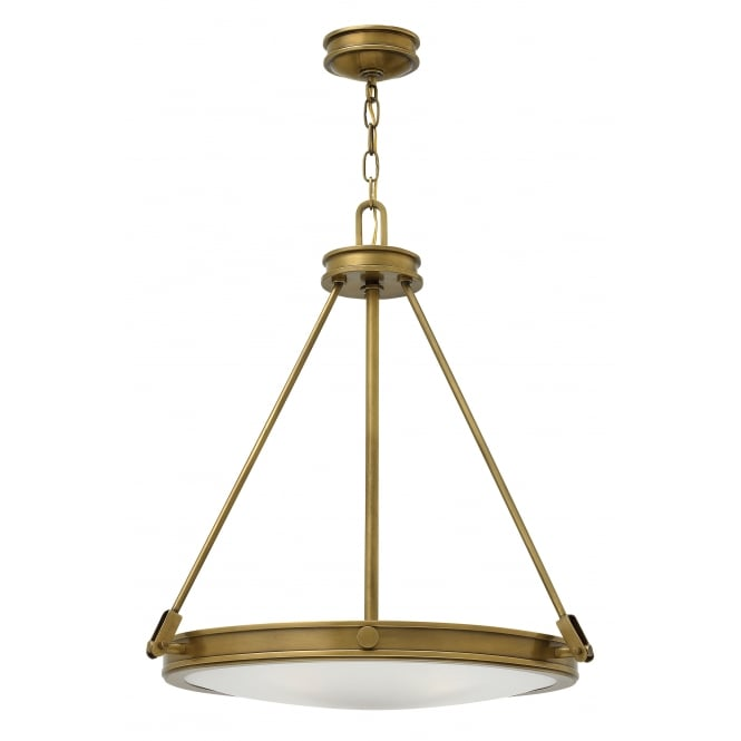 COLLIER brass ceiling pendant with opal glass diffuser