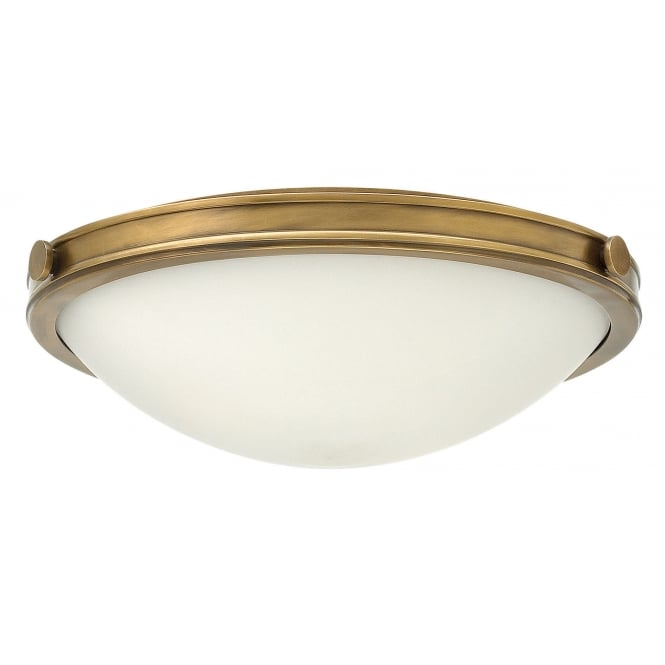 Hinkley Lighting COLLIER flush fit brass ceiling light with opal glass (medium)