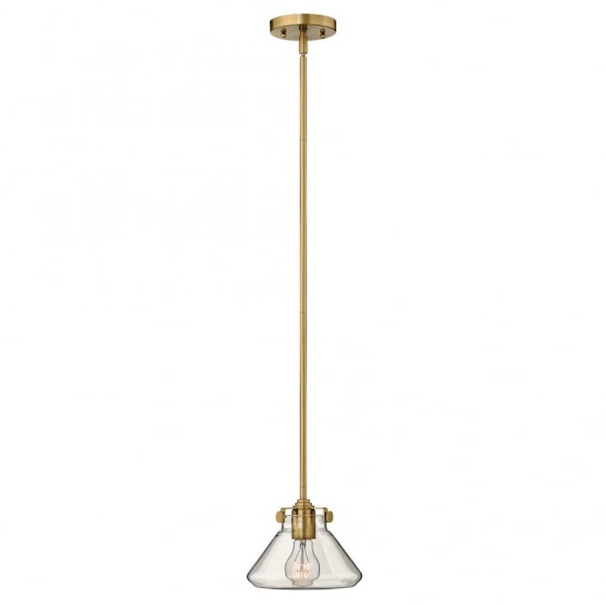 CONGRESS vintage brass ceiling pendant with tapered clear glass shade