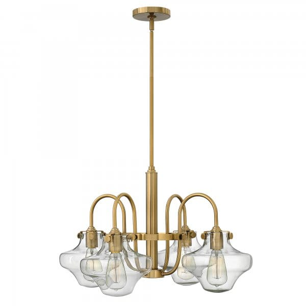 Vintage Brass Chandelier With Clear Schoolhouse Glass Shades