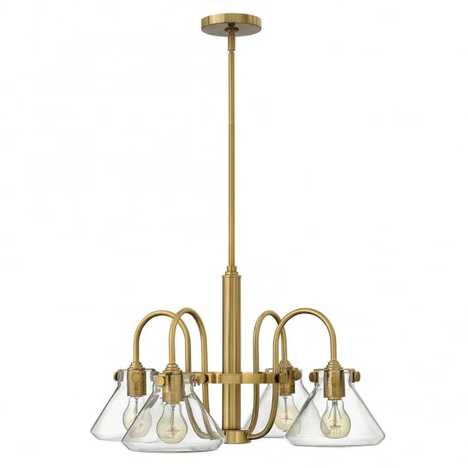 CONGRESS vintage brass chandelier with tapered clear glass shades