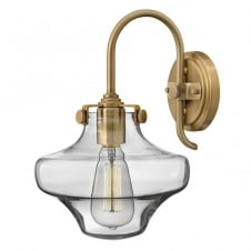 CONGRESS vintage brass wall light with clear glass shade