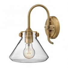 CONGRESS vintage brass wall light with tapered clear glass shade