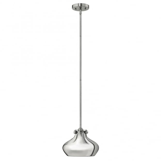 CONGRESS vintage chrome ceiling pendant with chrome metallic shade