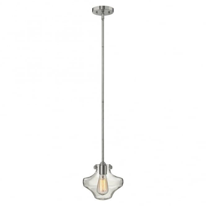 Hinkley Lighting CONGRESS vintage chrome ceiling pendant with clear glass shade