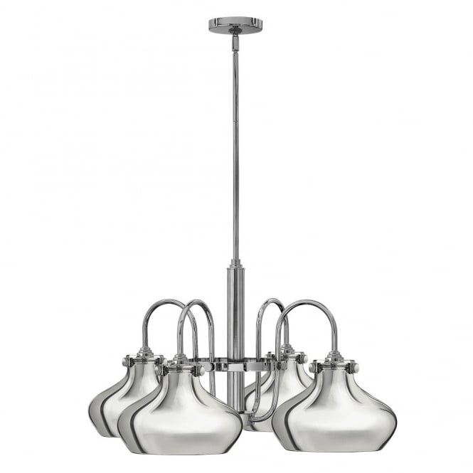 Hinkley Lighting CONGRESS vintage chrome chandelier with chrome metallic shades