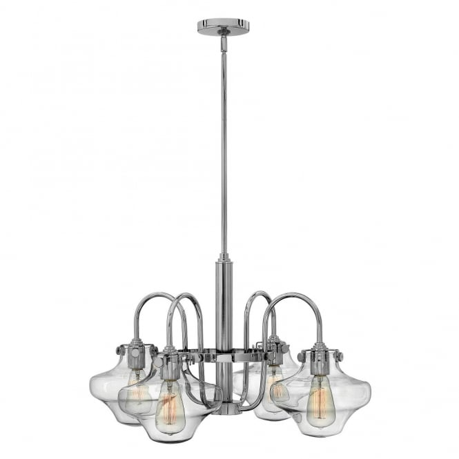 Hinkley Lighting CONGRESS vintage chrome chandelier with clear glass shades
