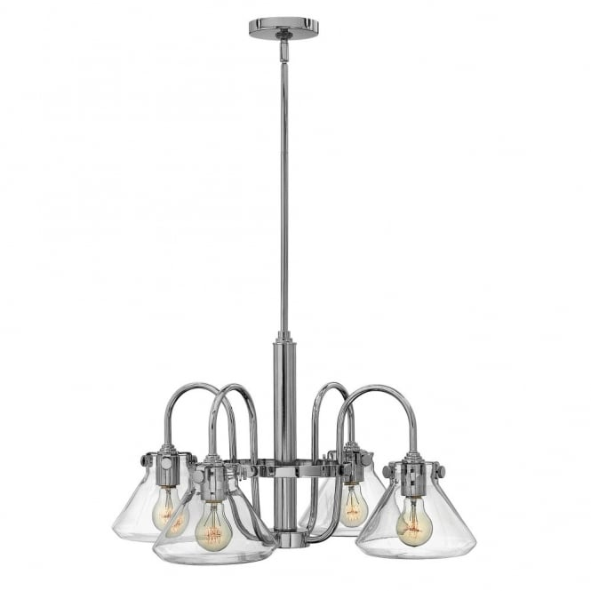 Hinkley Lighting CONGRESS vintage chrome chandelier with tapered clear glass shades