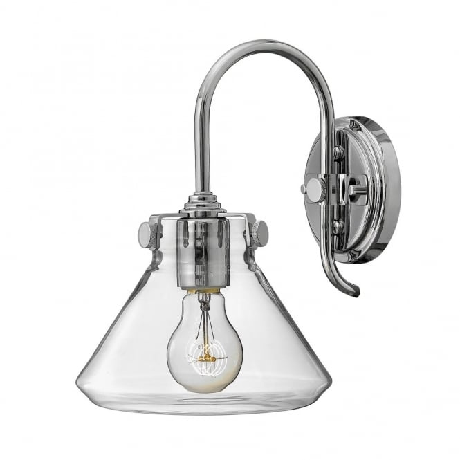 Hinkley Lighting CONGRESS vintage chrome wall light with tapered clear glass shade