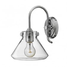 CONGRESS vintage chrome wall light with tapered clear glass shade
