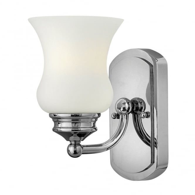 Classic chrome bathroom wall light with opal glass bell shade classic bathroom wall light in polished chrome with opal glass bell shade aloadofball Images