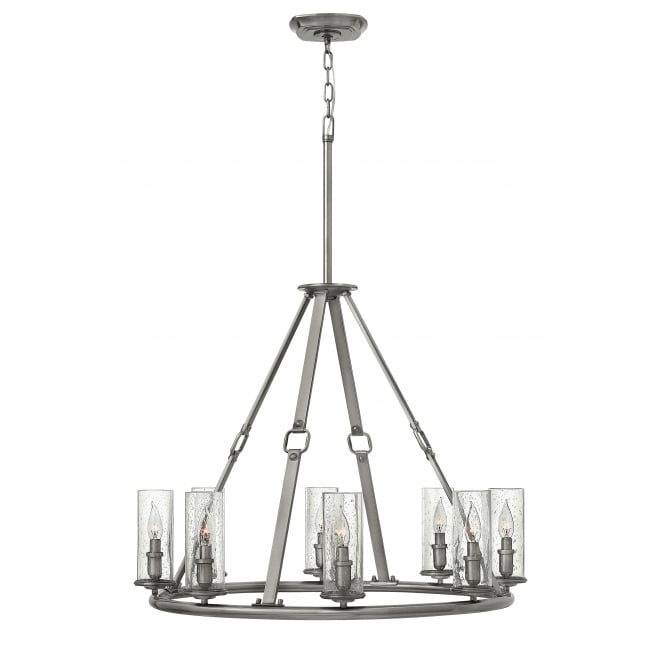 DAKOTA 8lt polished antique nickel chandelier with clear seeded glass shades