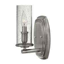 DAKOTA single polished antique nickel wall light with seeded glass
