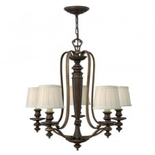 DUNHILL traditional 5lt chandelier in bronze with off white pleat shades