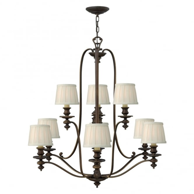 Hinkley Lighting DUNHILL traditional 9lt chandelier in bronze with off white pleat shades