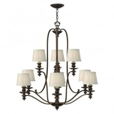 DUNHILL traditional 9lt chandelier in bronze with off white pleat shades