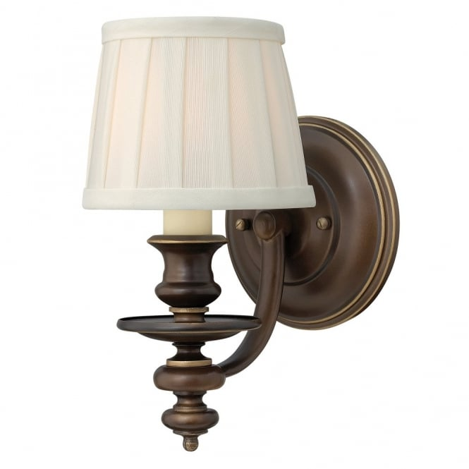 Traditional Wall Sconce in Bronze with Off White Pleat Shade