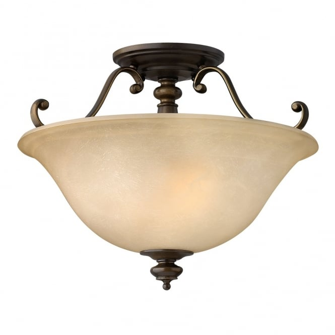 DUNHILL traditional semi flush ceiling uplighter in bronze with alabaster glass shade