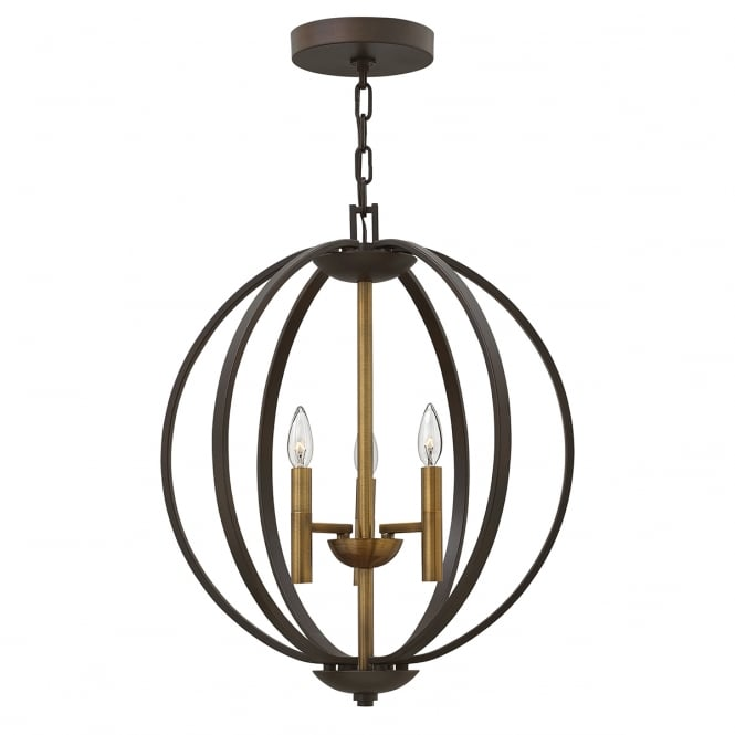 Hinkley Lighting EUCLID 3 light globe frame chandelier in bronze finish
