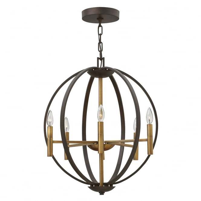 Hinkley Lighting EUCLID 6 light globe frame chandelier in bronze finish