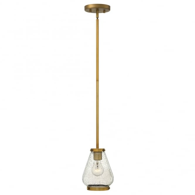Hinkley Lighting FINLEY vintage design mini ceiling pendant in bronze with seeded glass shade