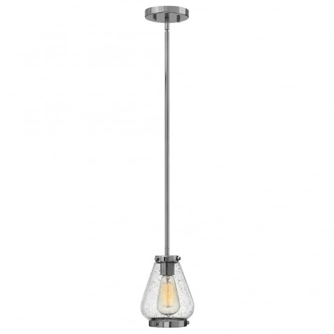 Hinkley Lighting FINLEY vintage design mini ceiling pendant in chrome with seeded glass shade