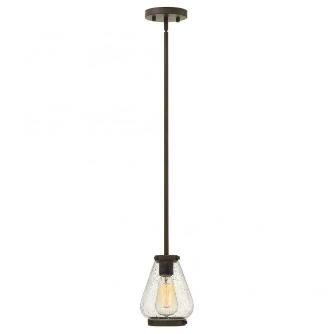 Hinkley Lighting FINLEY vintage design mini ceiling pendant in oil rubbed bronze with seeded glass shade