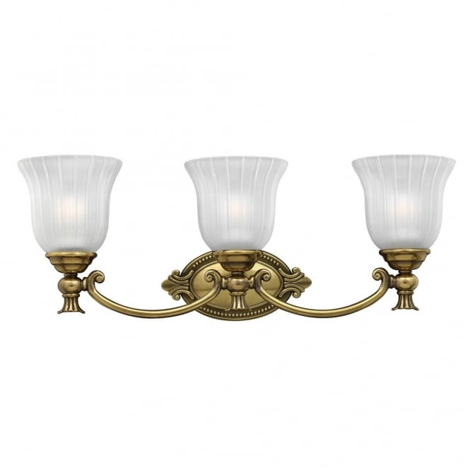Hinkley Lighting FRANCOISE traditional decorative bathroom over mirror light in brass with frosted ribbed glass shades