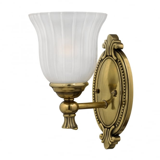 FRANCOISE traditional decorative bathroom wall light in brass with frosted ribbed glass shade